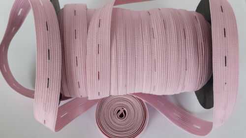 """19mm 3//4/"""" BABY PINK Button hole Buttonhole Elastic Woven Waistband Notion sewing"""