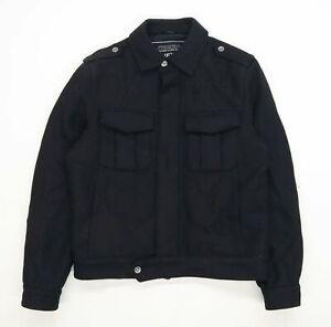 NEXT-Homme-taille-M-laine-melangee-Manteau-Noir