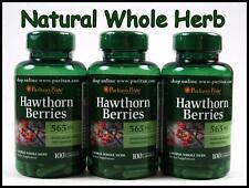 3X Puritans Pride HAWTHORN BERRIES 565 mg - 300 Capsules Whole Herb Heart Health