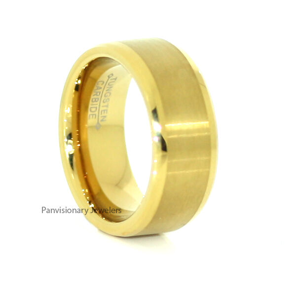 9MM 18K Yellow Gold Flat Brushed Beveled Tungsten Ring Wedding Band