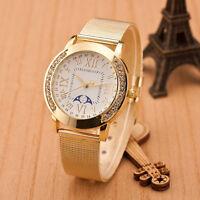 NEW Fashion Women Classic Gold Roman Numerals Quartz Stainless Steel Wrist Watch