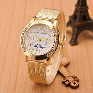 NEW-Fashion-Women-Classic-Gold-Roman-Numerals-Quartz-Stainless-Steel-Wrist-Watch