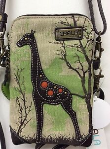 Chala Cell Phone Crossbody Small Convertible Sand Canvas Giraffe New
