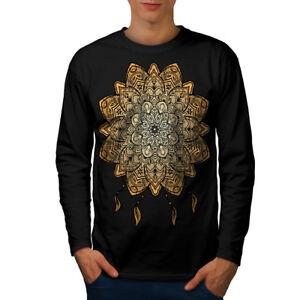 Wellcoda Mandala Yoga Mens Long Sleeve T Shirt Spiritual Graphic Design Ebay