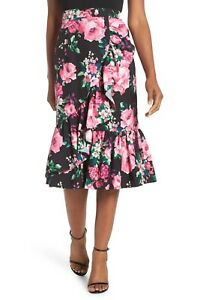 c3dcafa058 NEW ELIZA J Black Pink Rose Floral Print Romantic Cascading Ruffle ...