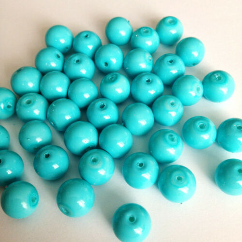 Sky Blue Opaque 40 round beads 10mm Glass faux Pearls jewellery making craft