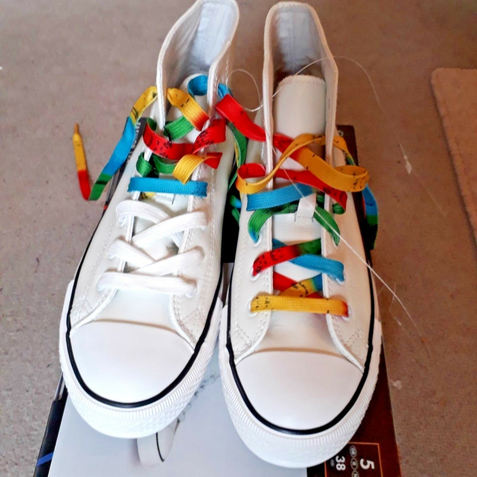 Esmara by Heidi Klum Leather Trainers Sneakers Size 5 White New with Box