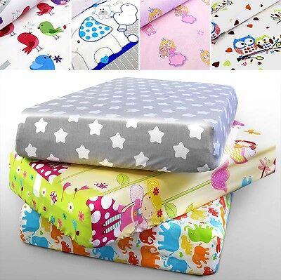 Bene 100% Cotone Lenzuolo Stampato 160x80 140x70 120x60 90x40 Nursery Baby Culla- Scelta Materiali