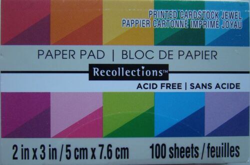 """PRINTED CARDSTOCK JEWEL PAPER PAD Recollections 2/""""x3/"""" 100 Sheets 556109 NEW!"""