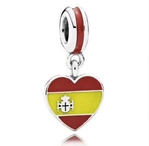 Details about Spain Heart Flag Charm 100% 925 Sterling Silver Pandora