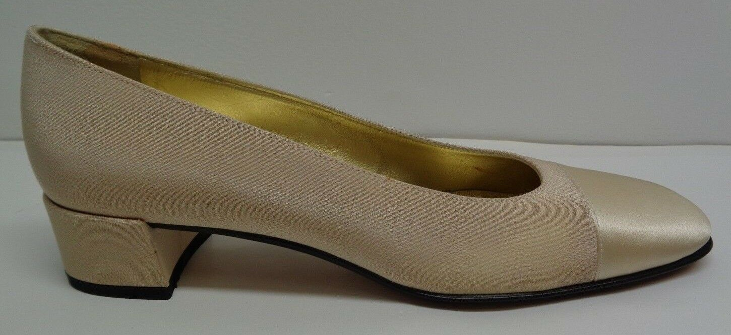 Pancaldi Size 7.5 AAA S Narrow P9073 Beige Satin Heels Pumps New Womens shoes