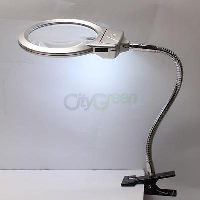 2.25X 107MM 5X 22MM LED Magnifying DeskTable Lamp Magnifier Glass Light Silver