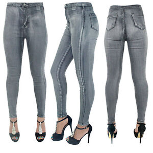 1a54bb7363642 New Womens Ladies High Waisted SkinnyFit Grey Jeans Stretch Denim ...