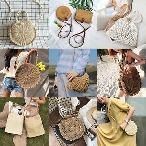 Women-Straw-Bag-Rattan-Woven-Round-Handbag-Knitted-Messenger-Crossbody-Beach-LOT