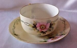 Vintage-M-E-S-C-Pink-Dogwood-China-Cup-Saucer
