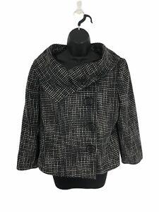 Tahari-ASL-Black-White-Tweed-Blazer-Jacket-Snaps-Button-Peaccoat-Women-039-s-Size-12