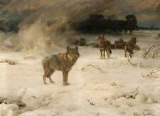 Wolves in Cold Snowy Winter Alfred Kowalsky-Wierusz 11 vintage art