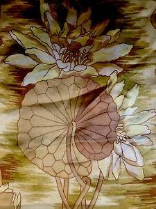 Antik Seide Schal shawl Jugendstil Stoff Tisch Klavier Lilly Pads