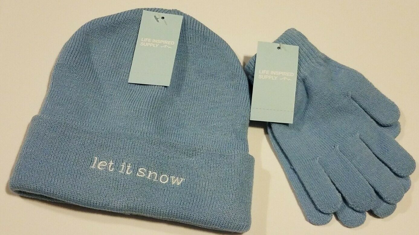NEW Life Inspired Supply Women's Baby Blue LET IT SNOW Stocking Hat & Gloves Set