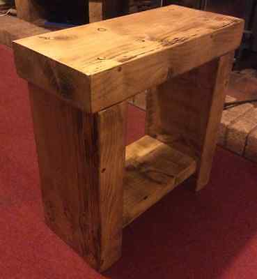 Small Chunky Rustic Pine Solid Wood Bench Side Table Lamp