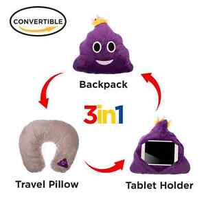 3 in 1 Emoji Pillow Travel Neck Pillow i Pad Holder Backpack Convertable Emojis