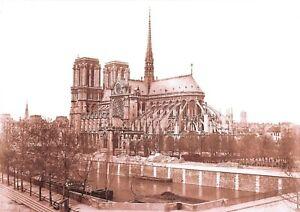 Details About Sepia Tones A4 Print Of C1876 80 Notre Dame Cathedral Paris France 25p