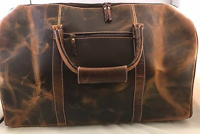 Mens Carry On Travel Weekender Overnight Vintage Brown Leather Duffel Duffle Bag