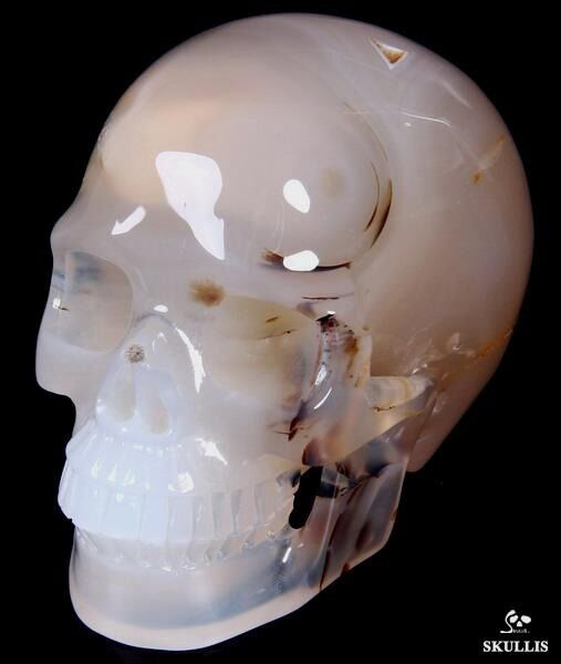 "TRANSLUCENT, Huge 5.0"" AGATE Carved Crystal Skull, Realistic,Crystal Healing#429"