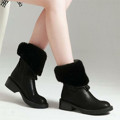 Women Big Wool Fur Cow Leather Ankle Boots Round Toe Military Oxfords Flats hot