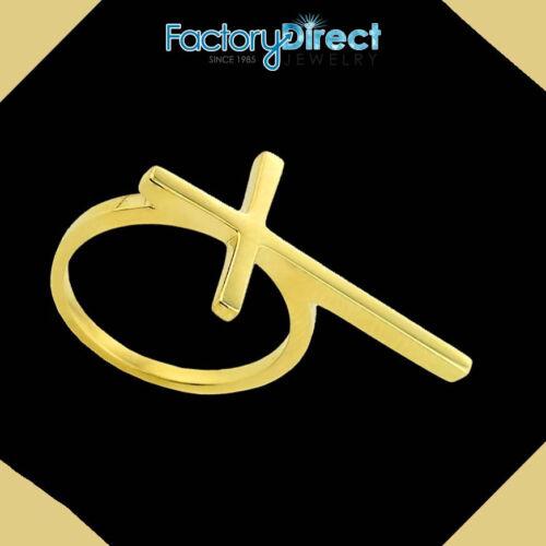 10k /& 14k Gold Extended Sideways Cross Ring