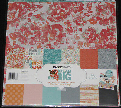"Competent Kaisercraft 'dream Big' 12x12"" Paper Pk +stickers Floral Kaiser *special Price* Grote Rassen"