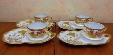Shofu Nippon Made in Japan Porcelain 4 Pc Snack Set Turquoise Jeweling Gold VgC