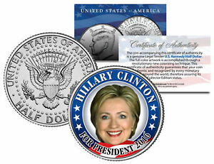 HILLARY-CLINTON-FOR-PRESIDENT-2016-Colorized-JFK-Half-Dollar-U-S-Coin-CAMPAIGN
