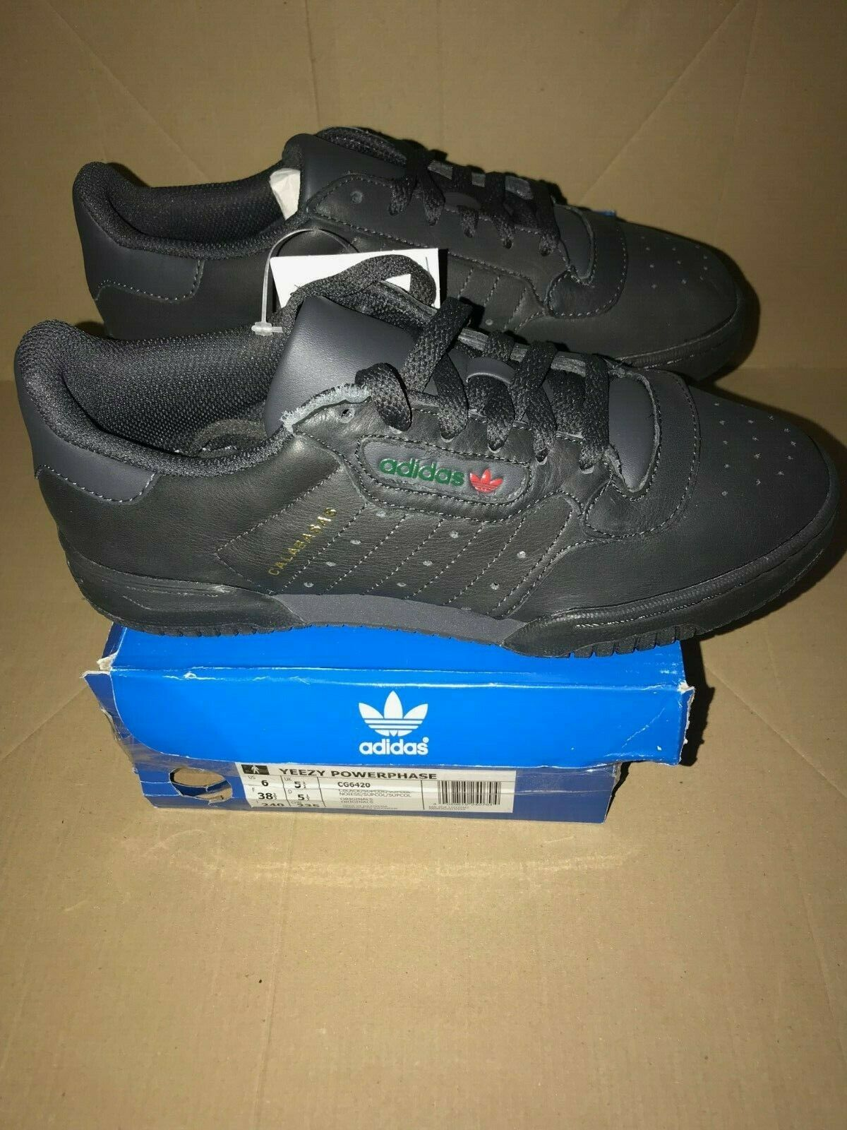 sale retailer 5c69c 6cd9b Adidas YEEZY POWERPHASE CALABASAS BLACK UK 5.5 US 6 EUR 38 2 3 b3d808