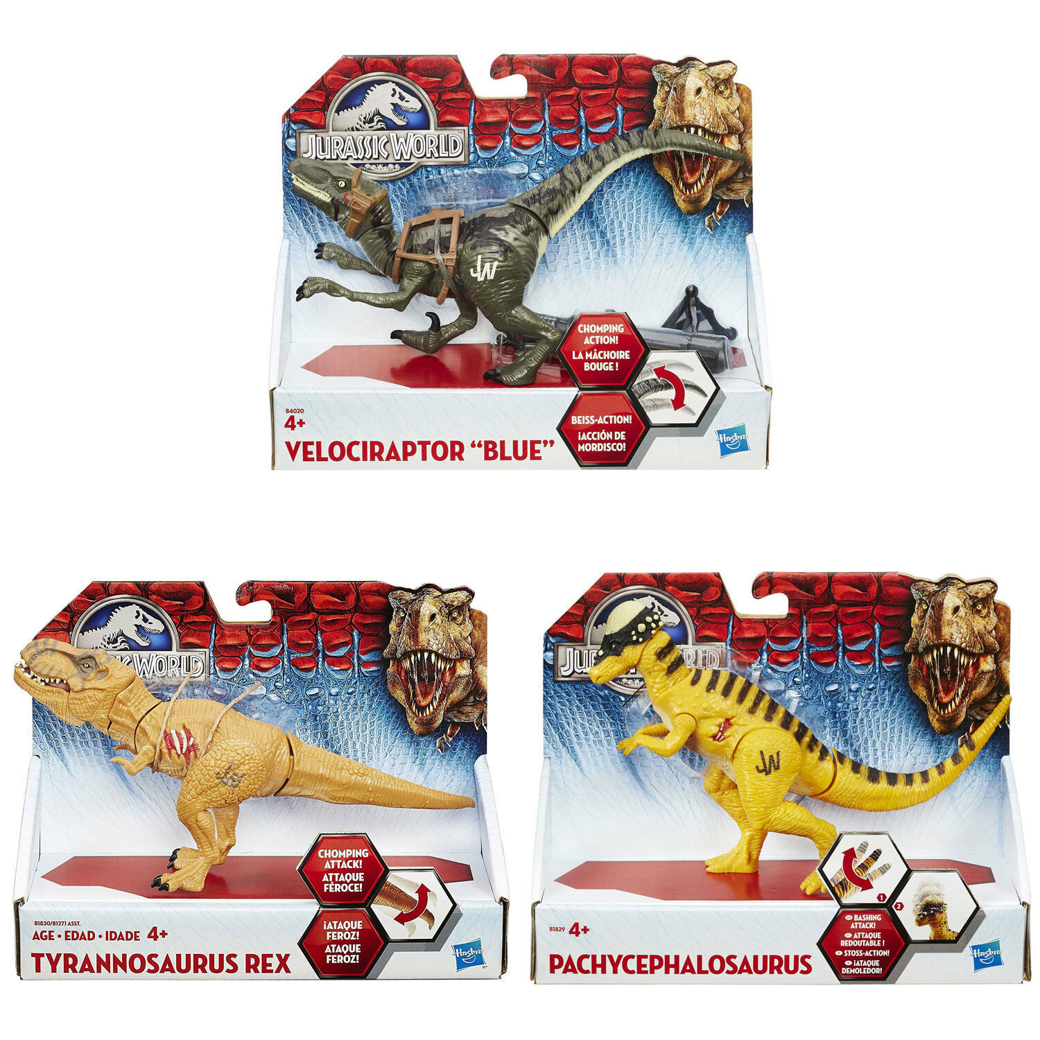 Jurassic World Bashers and Biters SET OF 3 (Velociraptor  bluee , T-Rex, Pachy)