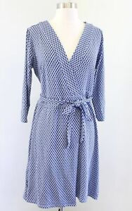 Ann Taylor Blue Ikat Geometric Print 3/4 Sleeve Knit Tie Wrap Dress Size 4