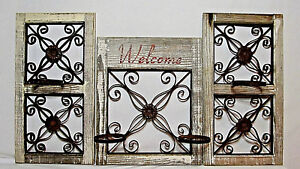 VTG-Rustic-Country-Wood-Iron-Metal-Scroll-Garden-Decor-Wall-Fence-Window-Holders