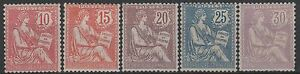 FRANCE-STAMP-N-124-128-034-MOUCHON-RETOUCHE-SERIE-5-TIMBRES-034-NEUFS-xx-LUXE-M552