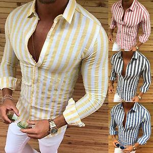 new product 53733 55156 Details zu Herren Sommer Freizeit Hemd Gestreift Knopf Langarm Slim Fit  Casual Bluse Top