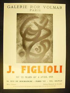 Affiche Exposition J Figlioli Galerie Ror Volmar 22 Mars 1968