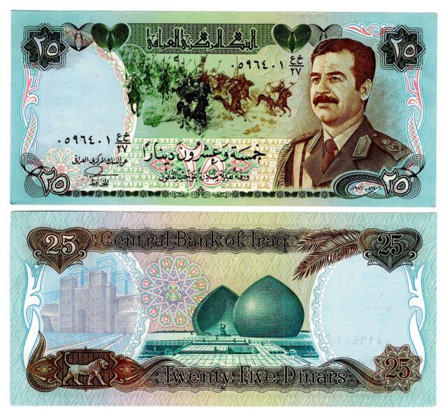 Iraq 25 Dinars Uncirculated Note Saddam