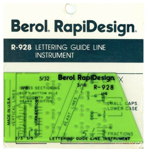 Berol Rapidesign Template R-928 Lettering Guide Line Instrument