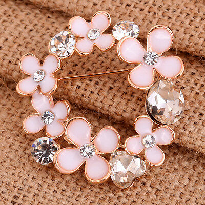 gold tone party wedding birthday Jewelry Crystal pink Flower garland Brooch Pin