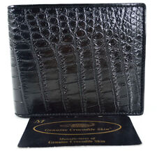 100% BELLY GENUINE CROCODILE LEATHER MEN'S BIFOLD WALLET SHINY BLACK NEW