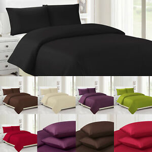 Plain DUVET COVER With Pillow Case QUILT Bedding Set Single Double Bed Sheet
