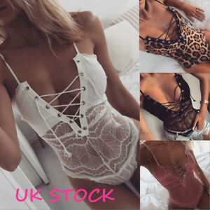 UK-Lace-UP-Strappy-Plunge-V-Neck-Full-Lace-Bodysuit-Womens-Bodycon-Tops-Lingerie