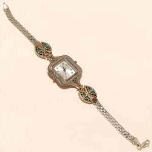 Women-Emerald-White-Topaz-Wrist-Watch-925-Sterling-Silver-Valentine-Jewelry-Gift
