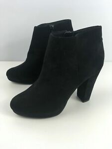 WOMENS-NEW-LOOK-BLOOM-BLACK-FAUX-SUEDE-HIGH-HEEL-PLATFORM-ANKLE-BOOTS-UK-8-EU-42