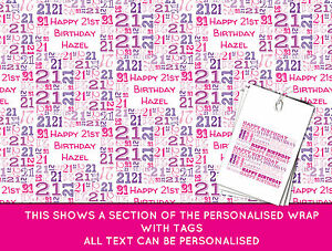 Image Is Loading Personalised Happy 21st Birthday Wrapping Paper Pink
