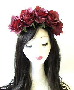 Large Burgundy Red Rose Flower Headband Garland Hair Crown Festival ... 6b50ab08f36